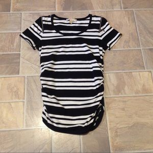 MICHAEL KORS SS RUCHED SIDES STRIPE NAVY WHITE TOP